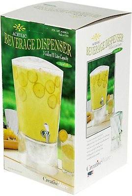 CreativeWare RM-BEV02 Sculptured Beverage Dispenser 3-Gallon Acrylic Beverage Di