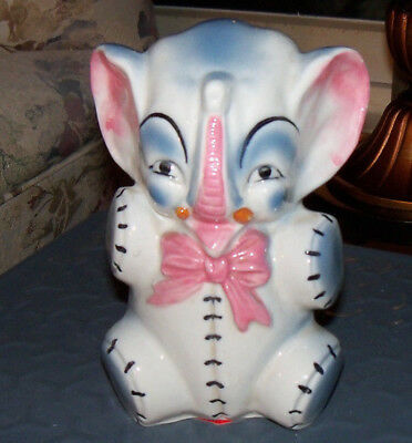Vintage Ceramic  Elephant Bank Cute with Trunk Up for Luck