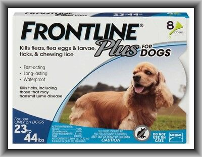 Frontline Plus Flea & Tick Control for Medium Dogs 23-44 lbs, 8 Doses Box !