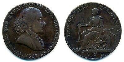 Great Britain, Cheshire Macclesfield Charles Roe 1/2 Penny, 1791. Conder Token.