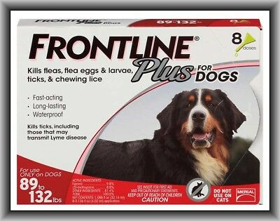 Frontline Plus Flea & Tick Control for XL Dogs 89-132 lbs, 8 Doses Box !