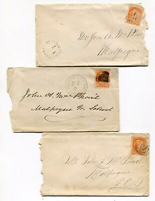 Canada PEI Prince Edward Island 1884 - Group of Three Small Queen Covers -