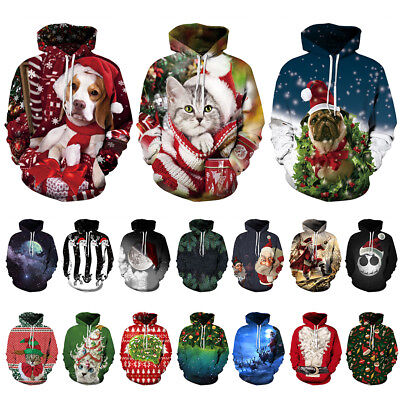 Men Christmas 3D Printed Hoodie Sweatshirt Pockets Drawstring Sweater Pullover