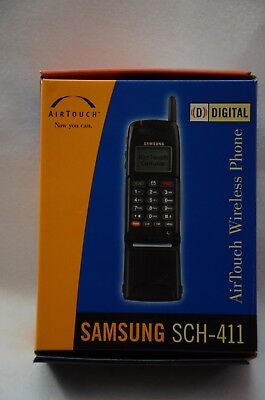 Vintage Samsung Black Flip Phone AIRTOUCH SCH-411 Charger Box Manual Working