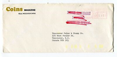 Canada / USA 1973 Postal Strike - Mail Service Suspended Cover to Vancouver BC