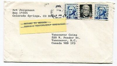 Canada / USA 1981 Postal Strike - Mail Service Suspended Cover to Vancouver BC