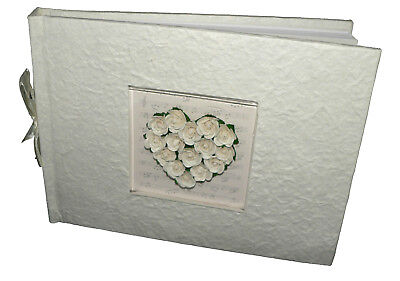 Rose Heart White Cream Mulberry Photo Album Anniversary Wedding Gift 200 sleeve