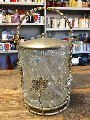 BRT Old Vintage Antique Pressed Glass Biscuit Silver Lidded Sweets Jar