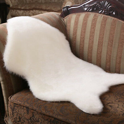 2 in 1 Faux Sheepskin Chair Cover Warm Hairy Carpet Seat Pad Fluffy Rug Mat IS92
