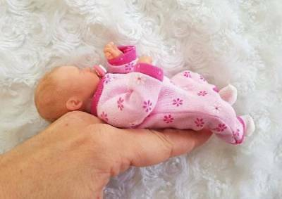 OOAK miniature NEWBORN baby GIRL collectible ART clay DOLL sculpt BY DAWN MCLEOD