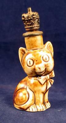 Vintage Schafer & Vater German Crown top Figural   CAT  Perfume Bottle Art Deco