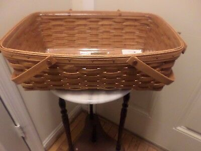Longaberger   Large Gathering Basket With Swinging Handles And Protector