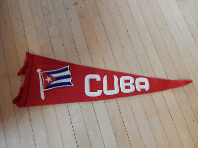 CUBA Sewn On Flag and Letters  Pennant or Banner  circa 1940