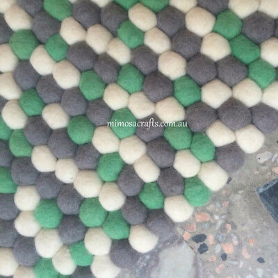 Felt Ball Rug -  3 Colour Nursery Felt Wool Rugs Mat - Pom Pom Rug Made to Order