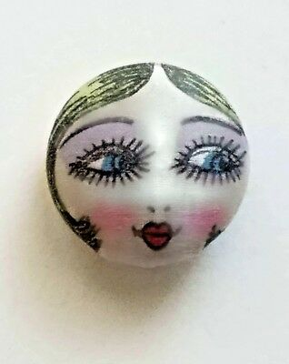 #5E Fabric Flapper Girl Hand Painted Head Worn in 1920's on Garter Belts Button