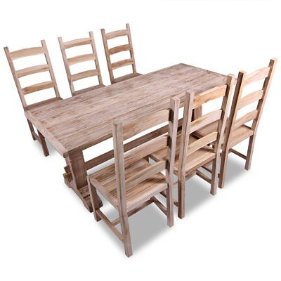 vidaXL Seven Piece Massive Wooden Dining Table and Chair Set Kitchen Home Teak