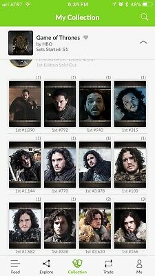QUIDD Game Of Thrones LORD SNOW Complete 12 Digital Card Set