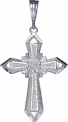Sterling Silver Cross without Jesus Pendant Necklace with Diamond Cuts and Chain