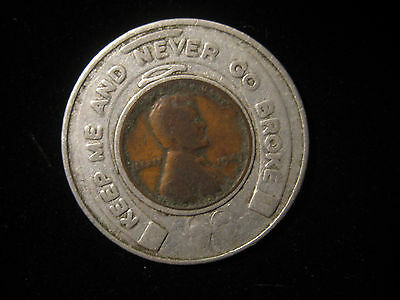Lucky Penny Encased Cent BOTWINIK MACHINE TOOLS Wheat Cent 1947 CT