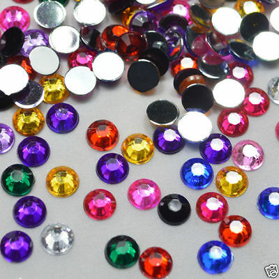1000 Flat Back Round Faceted Loose Rhinestone Acrylic Gems Craft 3mm color Mixed