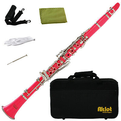 Aklot Bb Beginner Clarinet 17 Keys with Durable Pink ABS Body with Reed Best
