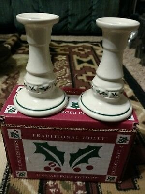 """Pair of Longaberger Pottery Traditional Holly 5"""" Candle Stick Holder in box"""