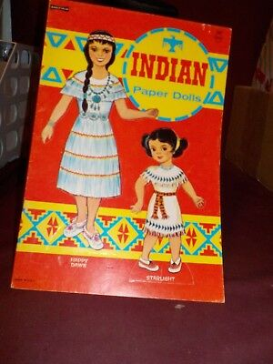 New Uncut Vintage No Date- Indian Paper Doll By Saalfield- Happy Dawn, Starligt.