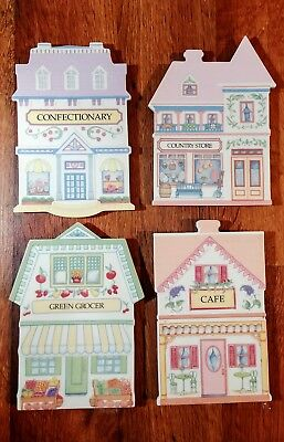 The Lenox Village Trivets 4 Pc Set Cafe Green Grocer Confectionary Country Store