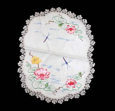 Vintage pretty embroidered dragonfly & flowers lace trim doily  37cm