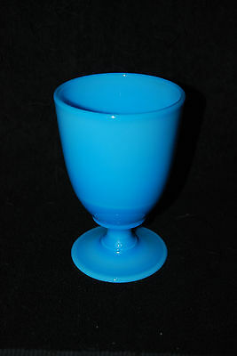 Beautiful Victorian Blue Opaque Milk Glass Goblet 1880's - 1910