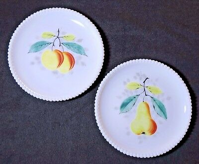 Westmoreland BEADED EDGE Hand Painted Milk Glass Fruit Plates PEACH & PEAR
