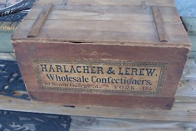 Lrg Rare Antique Harlacher & Lerew Wholesale Confectioners Crate Antique York Pa