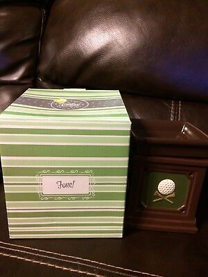 """Scentsy fore! embossed golf ball & club candle warmer full size 6"""" retired"""