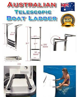 3 Step Telescopic Boat Ladder Foldable 316 Stainless Steel GOLD COAST 4211