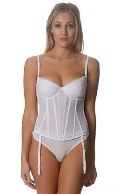 New White Lace Full Cup Corset Bustier Underwire Bra Size 10Dd,12D,12Dd,14D
