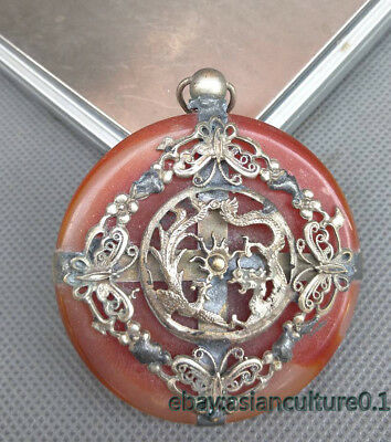 China Exquisite Tibet Silver Inlaid Jade pendant carved butterfly Dragon phoenix