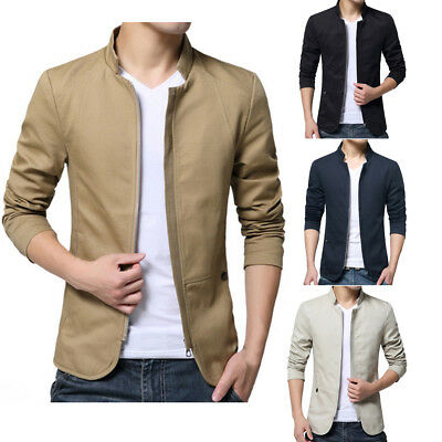 Men's Cotton Lightweight Slim Fit Stand Collar Jacket Coat Casual Outerwear
