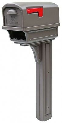 Plastic Mailbox Post Combo Replacement Large Mocha Rear Door Safe Mail Traffic