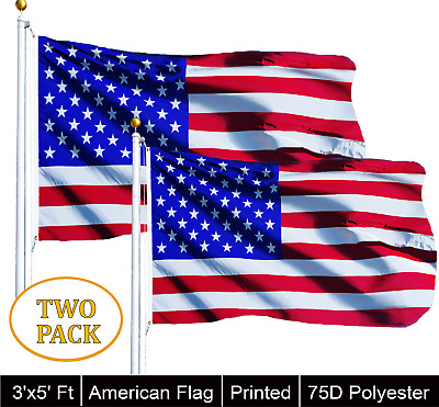 G128® TWO PACK of 3x5 American Flag w/ Grommets ~ United States of America