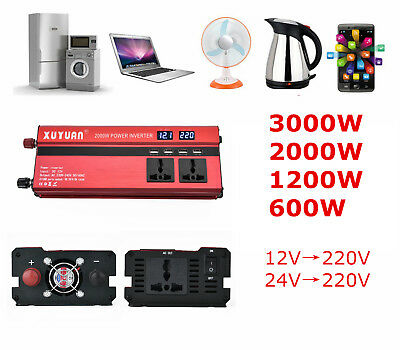 Car Power Inverter DC 12/24V To AC 220V 2000W 1200W 600W USB Charger Converter