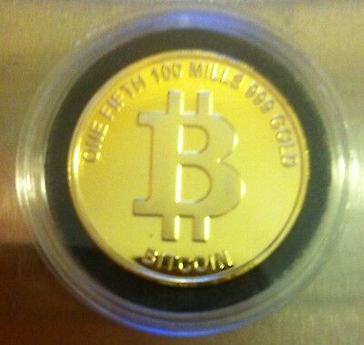 One Fifth Bitcoin Finished in 999 Fine 24 Karat Gold  in Capsule