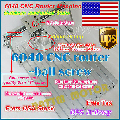 【USA Stock】 6040 CNC Router Engraver Engraving milling machine Frame+80mm Clamp