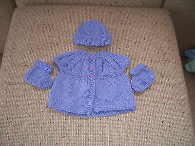 New Hand Knitted Jasket ,cap & Booties Lilac Newborn