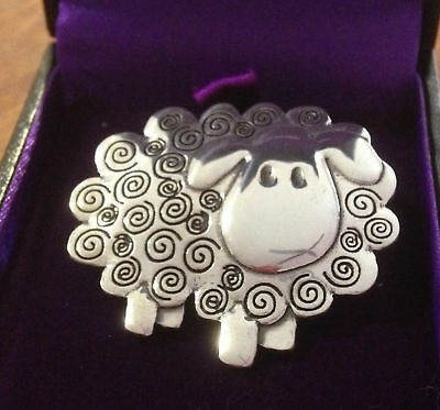 Swirly Sheep Polished Pewter Brooch in Gift Box..NEW