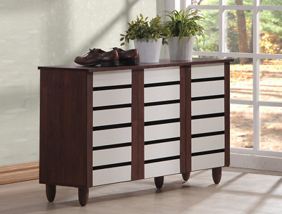 Baxton Studio Wholesale Interiors Gisela Oak and White 2-Tone Shoe Cabinet with