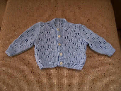 Used Hand Knitted Baby Cardigan Blue 3 -6 Months Approx