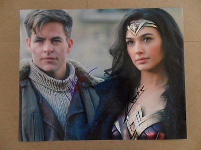 """Gal Gadot, Chris Pine Signed -Autographed Photo """"Justice"""""""