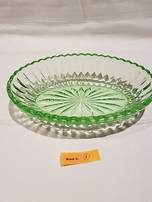 depression glass green oval dish