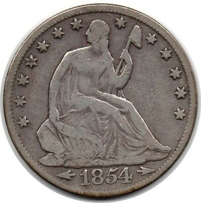 1854-O New Orleans Mint Silver Seated Liberty Half Dollar