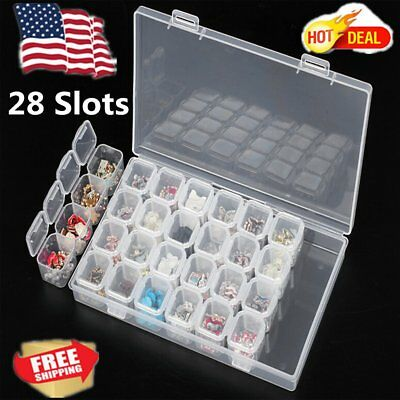28 Slots Clear Diamond Painting Accessories Box Embroidery Case Geometric Holder